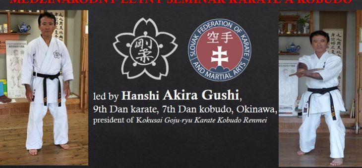 Seminář se senseiem a prezidentem Gojuryu Kokusai Karate Kobudo Renmei Akira Gushim  9. Dan Karate a 7.Dan Kobudo